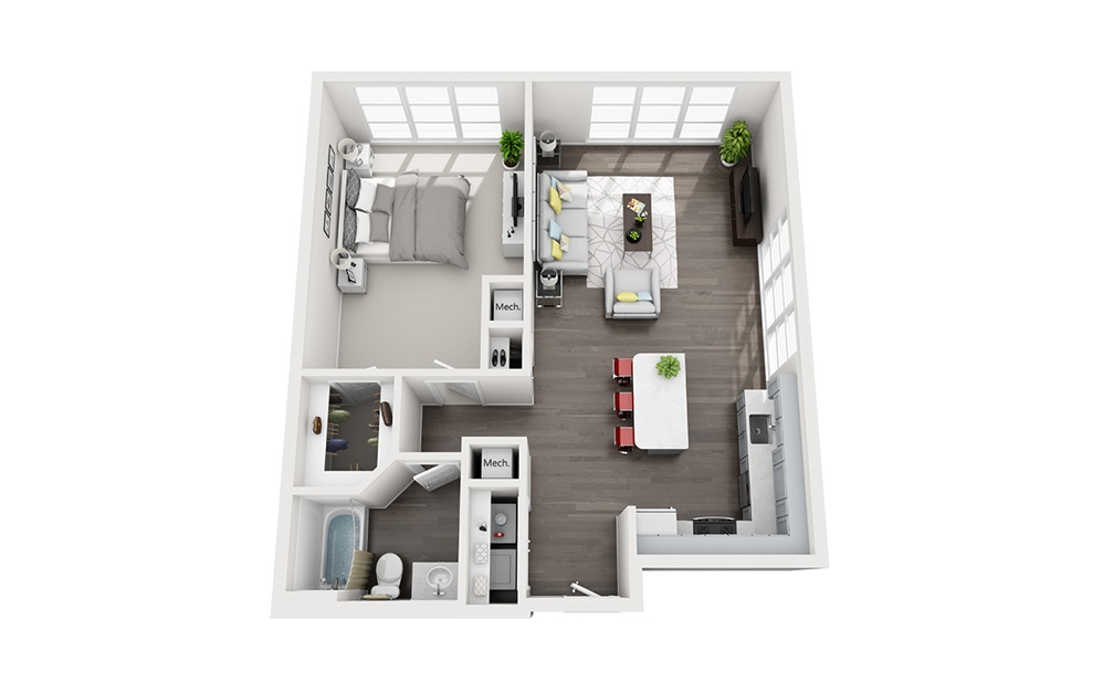 A1 - 1 bedroom floorplan layout with 1 bath and 843 square feet.