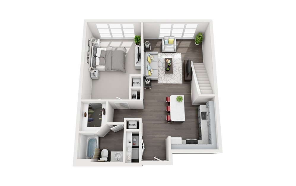 A1 Loft - 1 bedroom floorplan layout with 1 bath and 1001 square feet. (Floor 1)