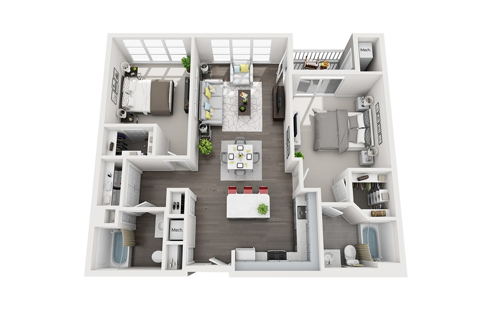 B1 - 2 bedroom floorplan layout with 2 baths and 1144 square feet.
