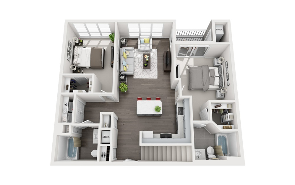 B1 Loft - 2 bedroom floorplan layout with 2 baths and 1300 square feet. (Floor 1)