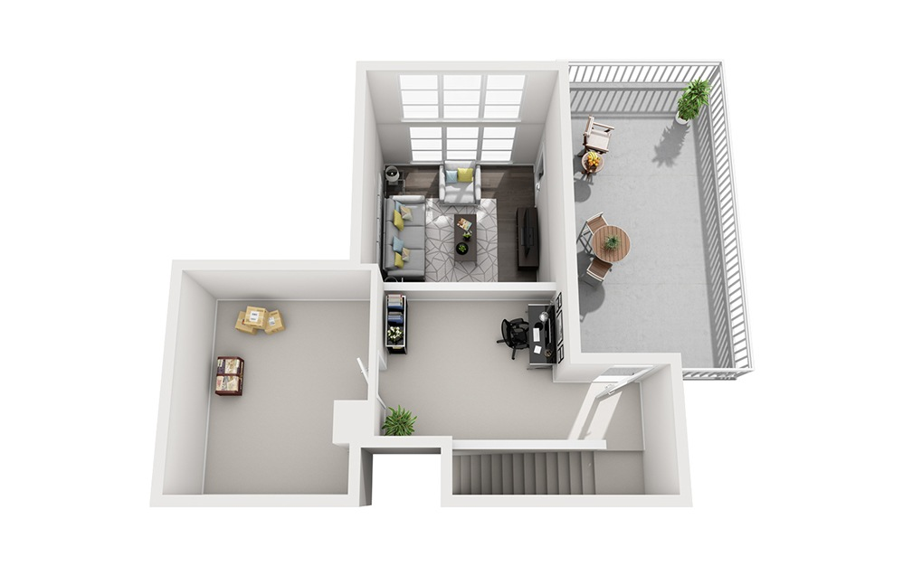 B1 Loft - 2 bedroom floorplan layout with 2 baths and 1300 square feet. (Floor 2)