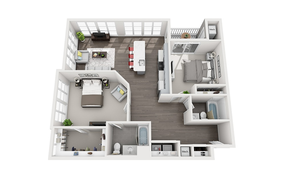 B3 - 2 bedroom floorplan layout with 2 baths and 1310 square feet.
