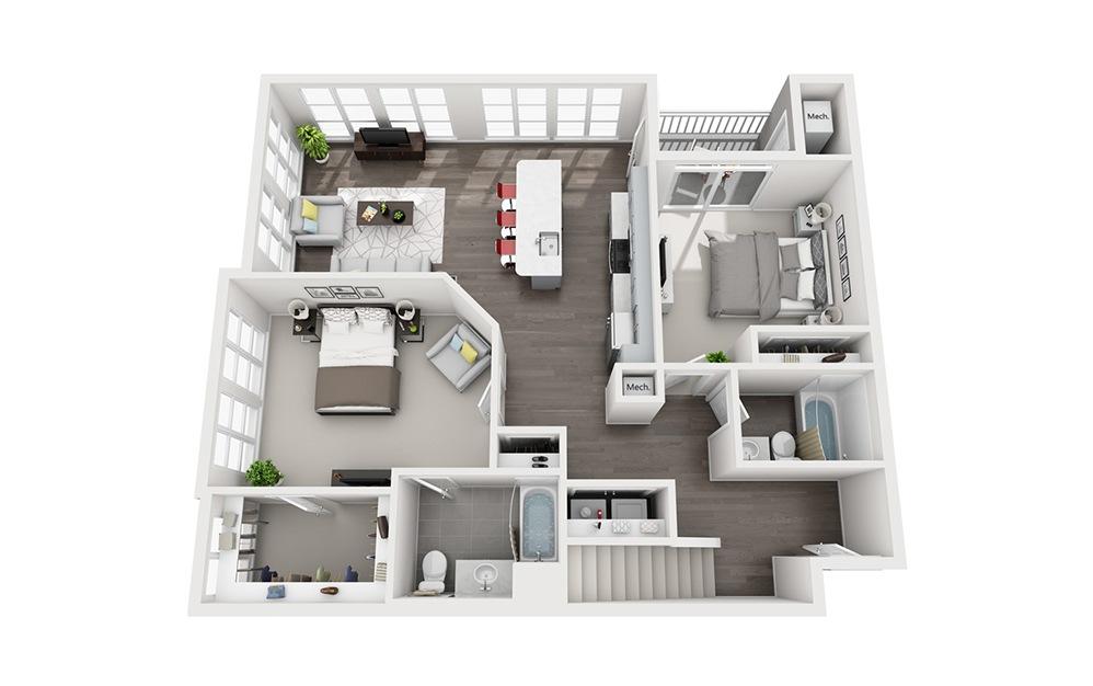 B3.1 Loft - 2 bedroom floorplan layout with 2 baths and 1545 square feet. (Floor 1)