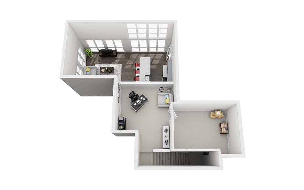 B3.1 Loft - 2 bedroom floorplan layout with 2 baths and 1545 square feet. (Floor 2)