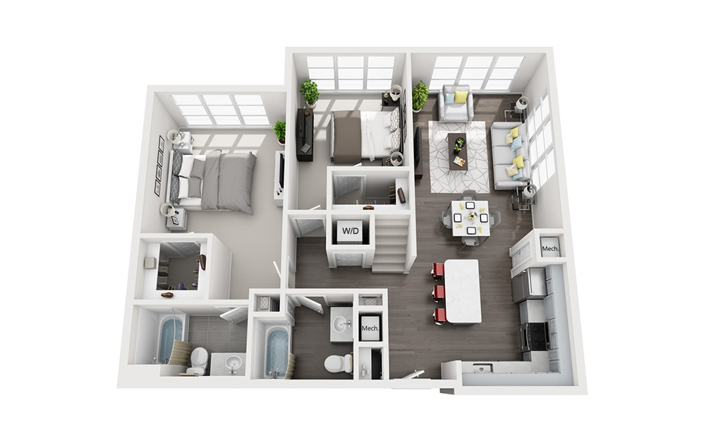 B4 Loft - 2 bedroom floorplan layout with 2 baths and 1211 square feet. (Floor 1)