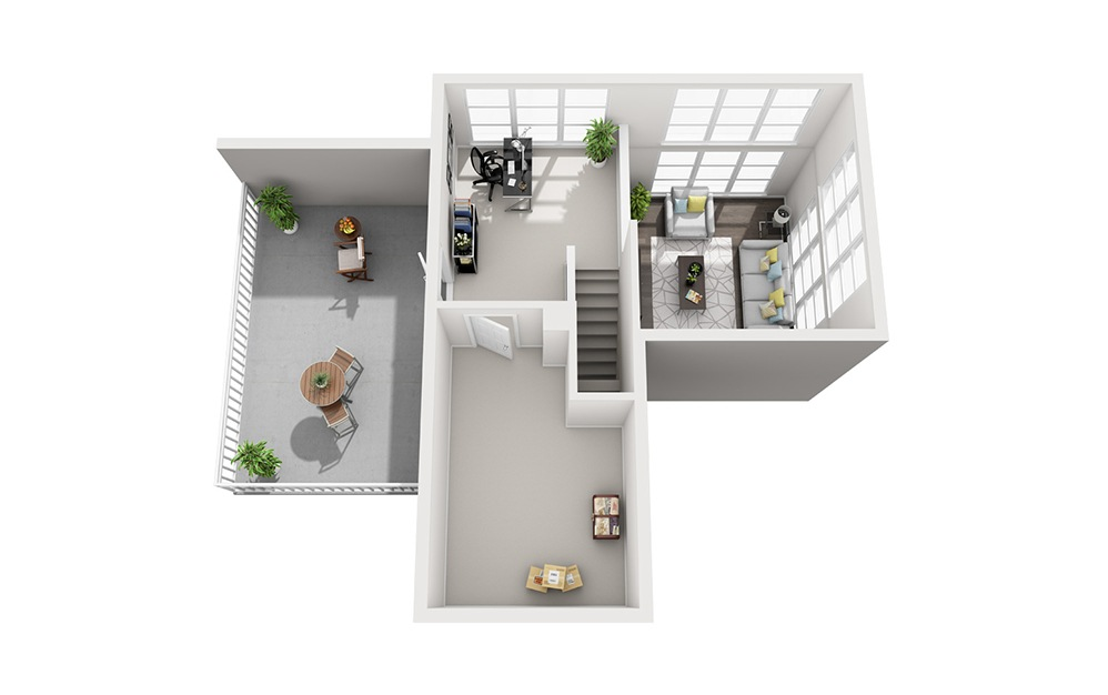 B4 Loft - 2 bedroom floorplan layout with 2 baths and 1211 square feet. (Floor 2)